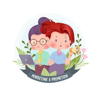 Reklamodawca promotor marketing i promocja ilustracja botaniczny