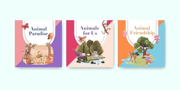 Reklamuj szablon z akwarela ilustracja koncepcja szczęśliwych zwierząt