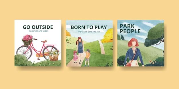 Reklamuj szablon z akwarela ilustracją koncepcji parku i rodziny