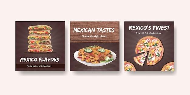 Reklamuj szablon z akwarelową ilustracją koncepcji kuchni meksykańskiej