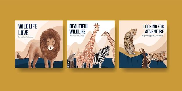 Reklamuj szablon z ilustracją akwarela dzikiej przyrody sawanny