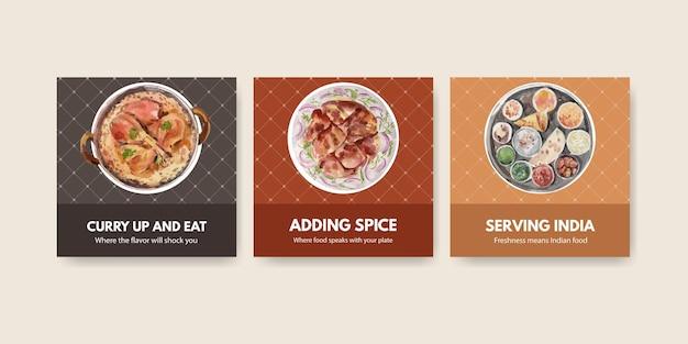 Reklamuj szablon z indyjskim jedzeniem