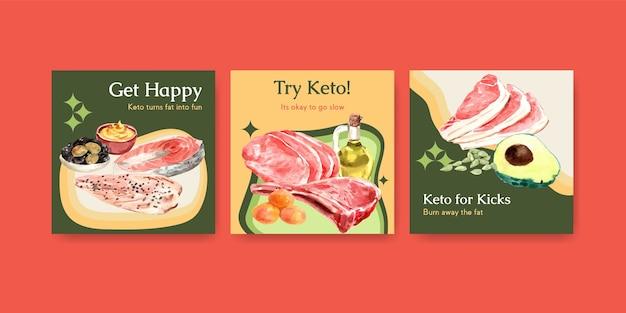 Reklamuj szablon z koncepcją diety ketogenicznej do marketingu i reklam akwarela ilustracji.