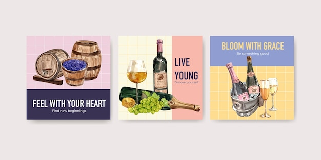 Reklamuj szablon z koncepcją farmy wina dla marketingowej ilustracji akwarela.