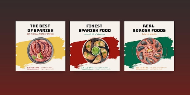 Reklamuj szablon z koncepcją kuchni hiszpańskiej dla marketingowej ilustracji akwarela