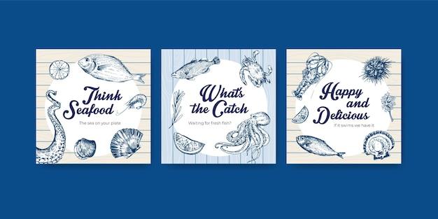 Reklamuj szablon z koncepcją owoców morza dla ilustracji marketingowej