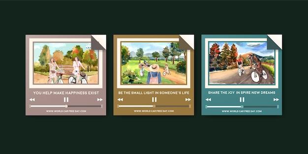 Reklamuj szablon z koncepcją światowego dnia bez samochodu dla akwareli marketingowych.