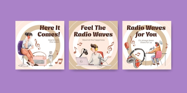 Reklamuj szablon z koncepcją światowego dnia radia dla ilustracji akwareli marketingowych i biznesowych