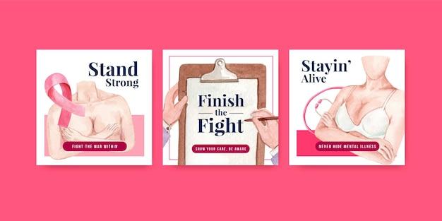 Reklamuj szablon z koncepcją światowego dnia raka dla marketingowej ilustracji wektorowych akwarela.