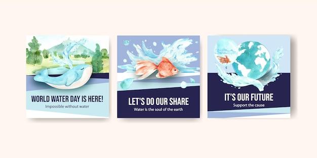 Reklamuj szablon z koncepcją światowego dnia wody dla biznesu i marketingu ilustracji akwareli