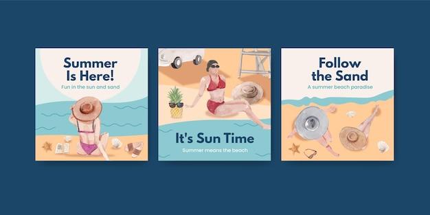 Reklamuj szablon z koncepcją wakacji na plaży dla marketingowej ilustracji akwarela