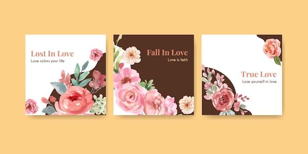 Reklamuj szablon z kwitnącą miłością projekt koncepcyjny dla biznesowej i marketingowej ilustracji akwarela