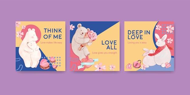 Reklamuj szablon z loving you concept dla marketingowej i biznesowej ilustracji akwareli