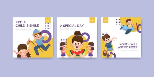Reklamuj szablon z projektami koncepcyjnymi na dzień dziecka