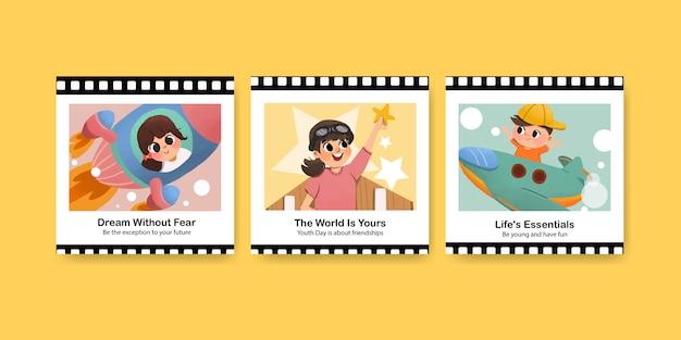 Reklamuj szablon z projektem dnia młodzieży dla ulotki i reklamuj akwarelę