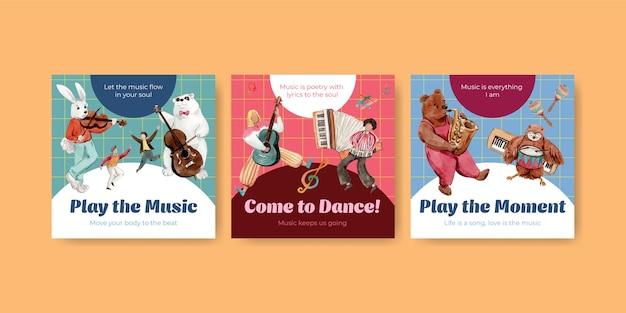 Reklamuj szablon z projektem koncepcyjnym festiwalu muzycznego dla reklam i marketingowych ilustracji wektorowych akwarela