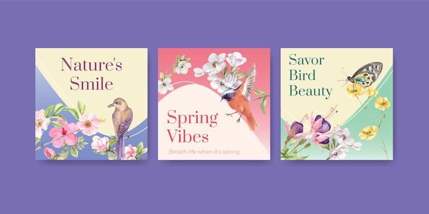 Reklamuj szablon z ptakami i koncepcją wiosny