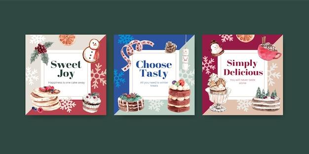 Reklamuj szablon z zimowymi słodyczami w stylu przypominającym akwarele