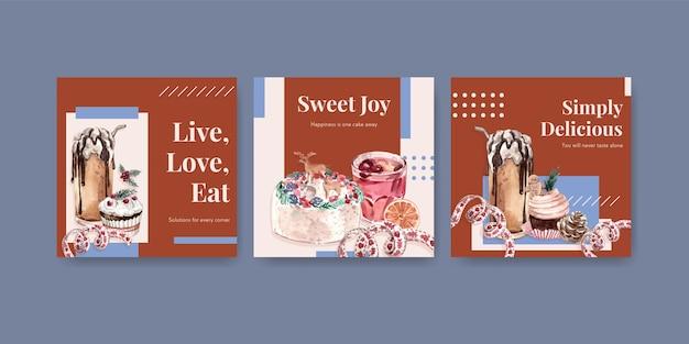 Reklamuj Szablon Z Zimowymi Słodyczami W Stylu Przypominającym Akwarele Darmowych Wektorów