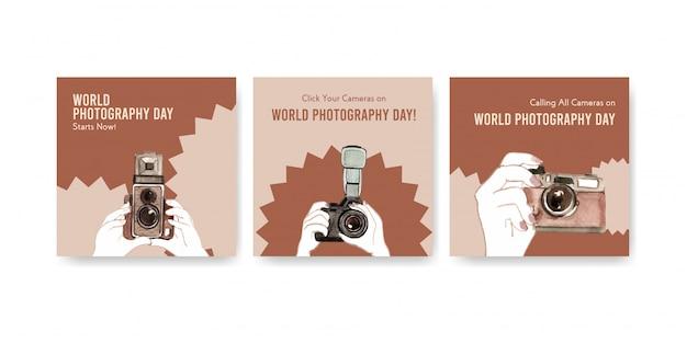 Reklamuj szablony na światowy dzień fotografii