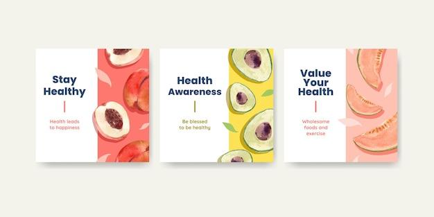 Reklamuj szablony na światowy dzień zdrowia w stylu przypominającym akwarele