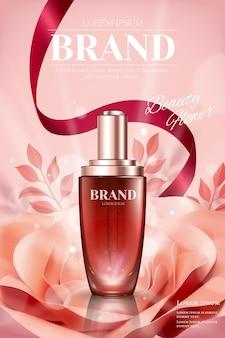 Reklamy butelek z kroplami z romantyczną papierową różą i wstążkami na ilustracji 3d