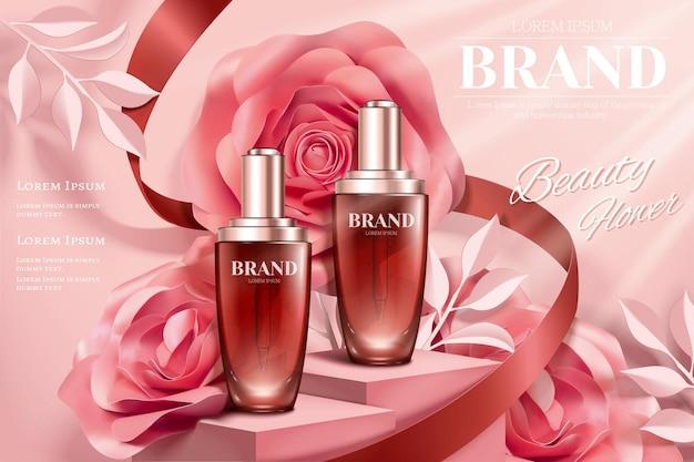 Reklamy Butelek Z Kroplami Z Romantycznymi Papierowymi Dekoracjami Róży Na Ilustracji 3d Premium Wektorów
