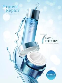 Reklamy do pielęgnacji skóry, balsamy i kremy w jasnoniebieskim opakowaniu z płynem do rozpryskiwania