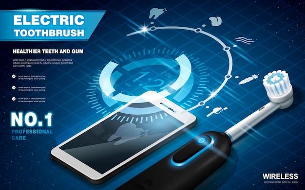 Reklamy elektrycznych szczoteczek do zębów, połączone ze smartfonem i do wyboru różne tryby, wirtualna platforma wyboru unosząca się w powietrzu, ilustracja 3d
