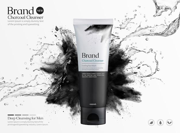 Reklamy handlowe środka do czyszczenia węgla drzewnego z rozpryskiwaniem cieczy i eksplozji czarnego proszku na białym tle, ilustracja 3d