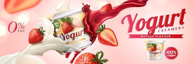 Reklamy jogurtu truskawkowego z mlekiem i dżemem owocowym rozpryskującym się w powietrzu na różowym tle, ilustracja 3d