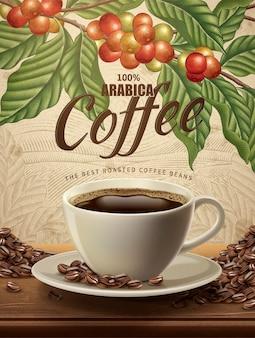 Reklamy kawy arabica, realistyczna czarna kawa i ziarna na ilustracji z roślinami kawy w stylu retro i scenerią pola w stylu trawienia