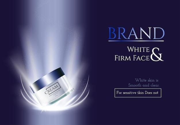 Reklamy kosmetyczne do pielęgnacji skóry na ciemnoniebieskim tle i ilustracji wektorowych efektów świetlnych