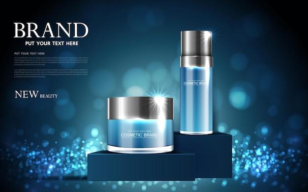 Reklamy kosmetyków lub produktów do pielęgnacji skóry z błyszczącym wektorem efektu świetlnego w butelce na niebieskim tle