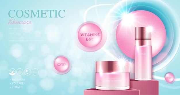 Reklamy kosmetyków lub produktów do pielęgnacji skóry z błyszczącym wektorem światła w butelce i niebieskim tle