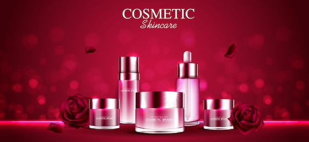 Reklamy kosmetyków lub produktów do pielęgnacji skóry z czerwoną różą w butelce i błyszczącym efektem świetlnym w tle