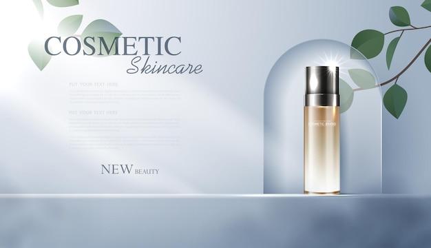 Reklamy kosmetyków lub produktów do pielęgnacji skóry z reklamą banerową na butelki dla produktów kosmetycznych i tła liści