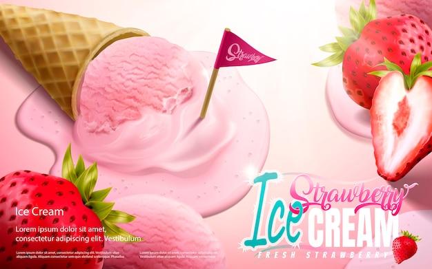 Reklamy lodów truskawkowych w rożku