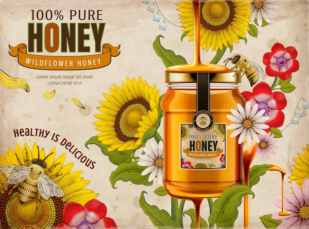 Reklamy miodu z polnych kwiatów, pyszny miód kapiący z góry ze szklanym słojem na ilustracji, elementy retro kwiatów w stylu cieniowania trawienia, kolorowy odcień