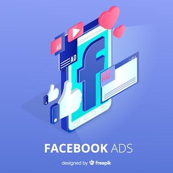Reklamy na facebooku płaskie tło