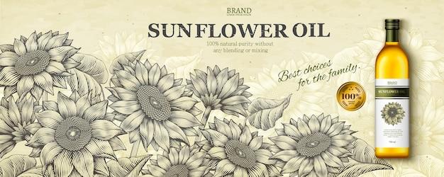 Reklamy oleju słonecznikowego w stylu grawerowania z realistycznym produktem na scenie ogrodu kwiatowego