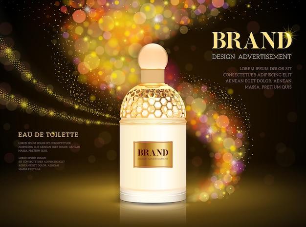Reklamy perfum premium, realistyczna luksusowa butelka perfum na sprzedaż lub reklama w czasopismach. na białym tle na tle błyszczy brokatem