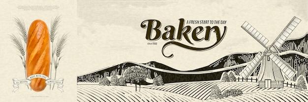 Reklamy piekarni w stylu grawerowania z realistycznym chlebem na wiejskim krajobrazie