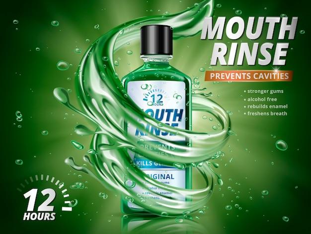 Reklamy płukanek do ust, odświeżający płyn do płukania jamy ustnej z rozpryskującymi elementami aqua i kroplami wody na ilustracji 3d