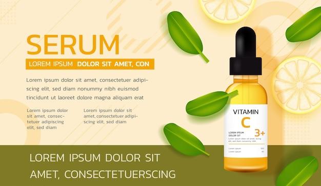 Reklamy produktów do pielęgnacji skóry. serum z witaminą c ze świeżymi cytrynami