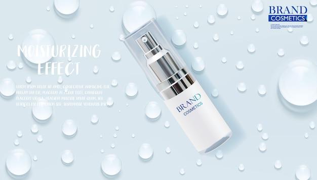 Reklamy produktów do pielęgnacji skóry z kroplą wody