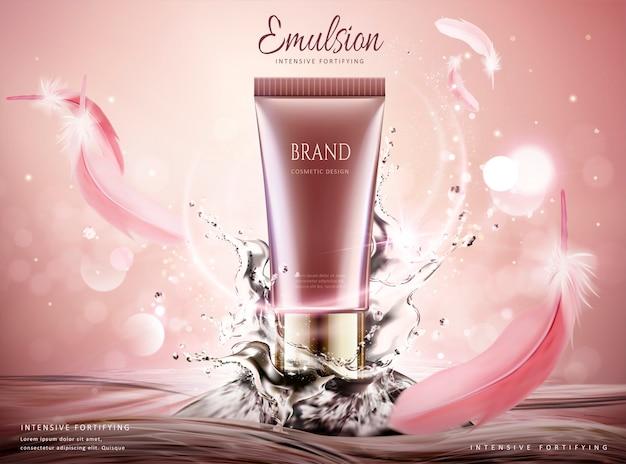 Reklamy produktów do pielęgnacji skóry z wirującą wodą i różowymi piórami na błyszczącym tle,