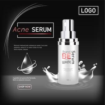 Reklamy produktów kosmetycznych design ads na czarnym tle i efekt świetlny. ilustracja wektorowa