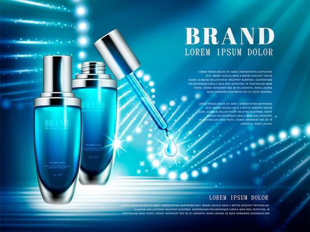 Reklamy produktów kosmetycznych, zestaw butelek niebieskich kropelek ze strukturą podwójnej helisy złożonej ze światła na ilustracji