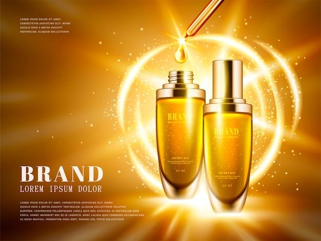 Reklamy produktów kosmetycznych, zestaw butelek z kropelkami w złotym kolorze z błyszczącymi światłami na ilustracji